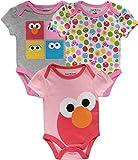 Sesame Street Baby Girls' Onesies Short Sleeve Infant Baby Bodysuits for Girls 3 Pack Gift Set (Grey/Pink/White, 3-6 Months)