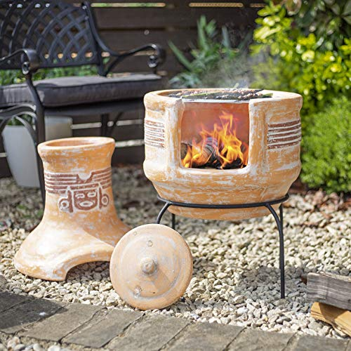 Oxford Barbecues Inca Clay BBQ Chiminea Patio Heater + Grill