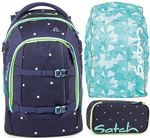 satch pack Pretty Confetti 3er Set Rucksack, Schlamperbox & Regencape Mint