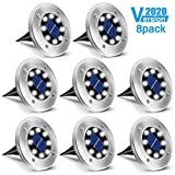 Solar Ground Lights, SOLMORE Upgraded Outdoor 8 LED Solar Garden Lights 8 Packs Waterproof Bright in-Ground Lights for Patio Lawn Yard Pathway Walkway (Cold White)