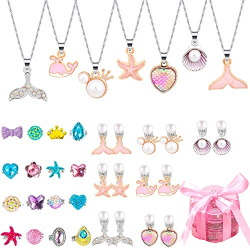 Golray 49 Pcs Girls Necklace and Clip on Earrings for Kids Adjustable Rings Jewlery Gift Set Party Favors with Mermaid Tail Shell Starfish Pendant Friendship Pretend Dress up Play Jewelry for Child Ages 3-12