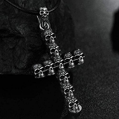 Yiffshunl Collar Calavera Collar Biblia Cruz Jesús Colgante Collar Todo-fósforo Pieza de Ropa Hombres y Mujeres Accesorios de Fiesta Collar Colgante de Cadena para Mujeres Hombres
