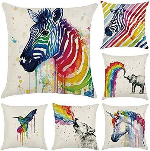 Hugyou Funda de almohada creativa de cartón con diseño de elefante de cebra colorido