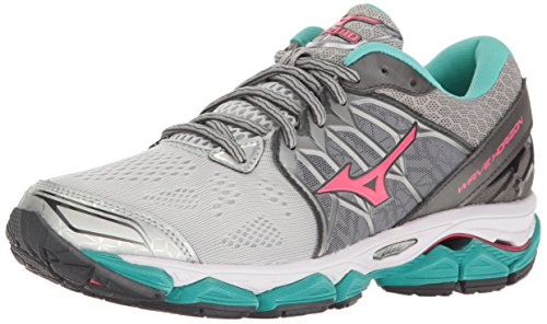 Mizuno Women's Wave Horizon Running Shoe, Silver/Pink, 6.5 B US