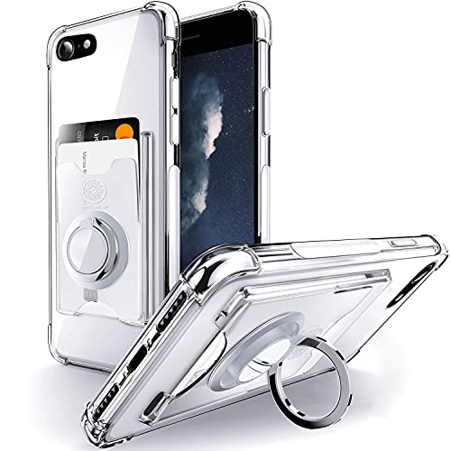 Shields Up Designed for iPhone 8 Case, iPhone 7 Case, iPhone SE 2020 Case, Minimalist Wallet Case with Card Holder and Ring Kickstand/Stand, Slim Protective Cover for Apple iPhone 7/8/SE2020 - Clear