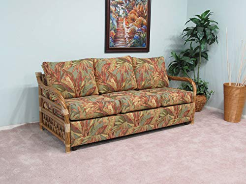 Made in USA Premium Contract Quality Rattan Living Room Queen Sofa Sleeper Bed (Choice of Fabrics) (#9031H)