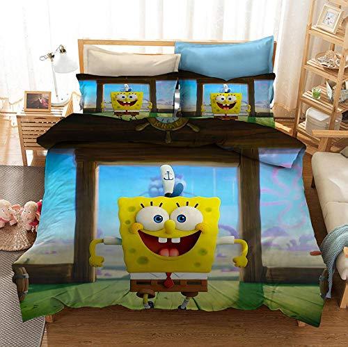 KIrSv Spongebob 3D Print Pattern Duvet Covet Funda de Almohada,Juego de Ropa de Cama Favorito para niños y niñas,Adecuado para una Individual Doble tamaño King-Seduce_140x210cm (2 Piezas)