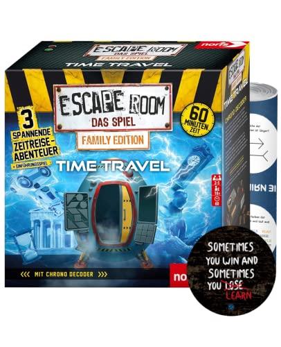 Escape Room Time Travel (Family Edition) – Juego familiar y social, incluye 3 casos, descodificador de cronógrafo, a partir de 10 años, 5 pegatinas de Escape y 1 póster de ilusión óptica