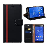 COODIO Sony Xperia Z3 Compact Hülle Leder, Sony Xperia Z3 Compact Kapphülle Tasche Leder Flip Cover Schutzhülle Rugged für Sony Xperia Z3 Compact Handyhülle, Schwarz/Rot
