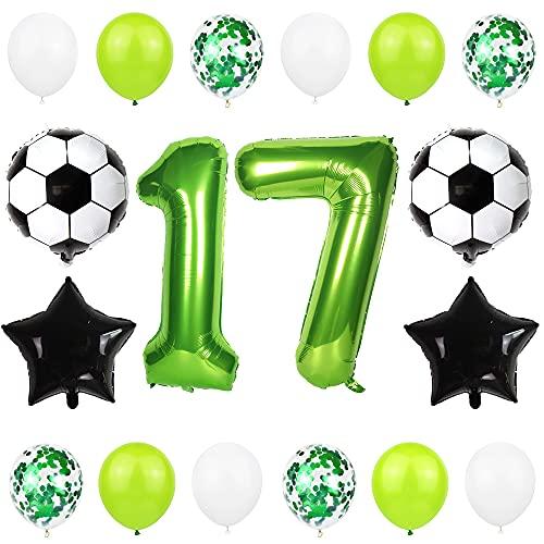 Liitata Fußball Luftballon Set 17. Geburtstag Deko 40 Zoll Zahl 17 Folienballon Grün Fussball Ballon Stern Ballon Schwarz Konfetti Luftballons für Kinder Junge Geburtstag Party Fußball Party Deko