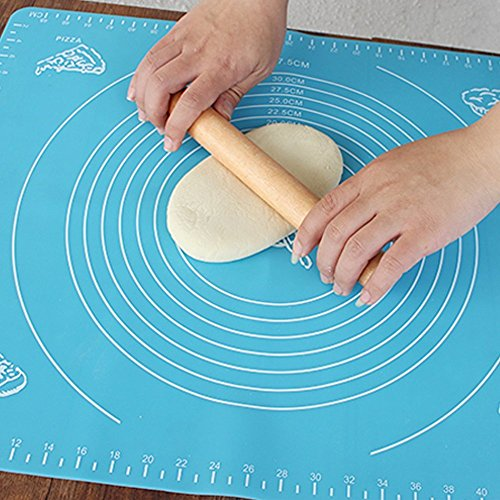 Oucles Premium Silicone Baking Mat, Reusable Kneading Pad Non-stick Dough Making Pastry Rolling Sheet with Measurements for Pie Pizza Cake Biscuits or Other Recipes Desserts 15.7x19.7 Inch (1pcs,Blue)