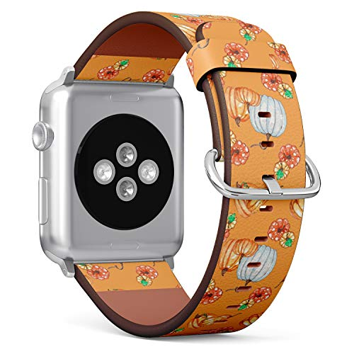Compatible with Big Apple Watch 42mm & 44mm - (Series 5, 4, 3, 2, 1) Leather Watch Wrist Band Strap Bracelet with Stainless Steel Clasp and Adapters (Watercolor Pumpkins Perfect)