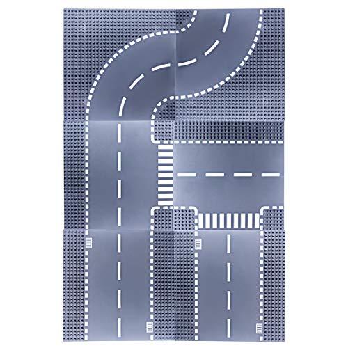 Seciie Straßen-Platte, Bauplatten Set für Straßen, Städte, Garagen, Turning Platte + T-Form Board + Gerade Platte, 25,6 x 25,6 cm, 6 Stück