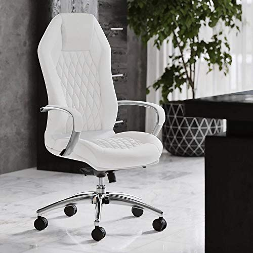 Modern Ergonomic Sterling Genuine Leather Executive Chair with Aluminum Base - White