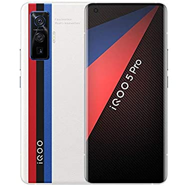 """Original IQOO 5 Pro 5G Mobile Phone 8G+256GB Snapdragon 865 120hz AMOLED 6.56"""" Screen Octa Core 120W Super Charger Global ROM 50.0MP 4000Mah Wi-Fi 6 Cellphone by-(Real Star Technology) (White 8+256)"""