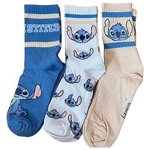 Primark Limited - Pack 3 Calcetines de Lilo y Stitch Rosa, Azul y Blanco - Con Licencia Oficial - para Mujer UK 4-8 EUR 37-42