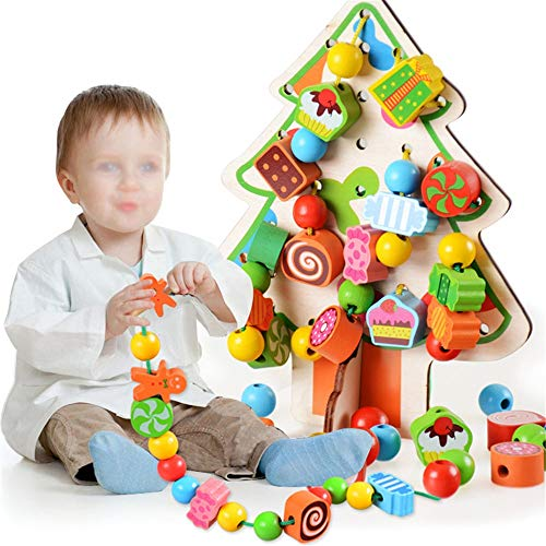 Learn More About Blocks Bead Stringing for Toddlers Educational Stringing Toy-Large Wooden Forest An...
