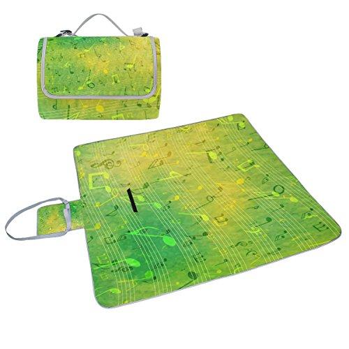 COOSUN Musik Notizen Picknick Decke Tote Handlich Matte Mehltau resistent und wasserfest Camping Matte für Picknicks, Strände, Wandern, Reisen, Rving und Ausflüge