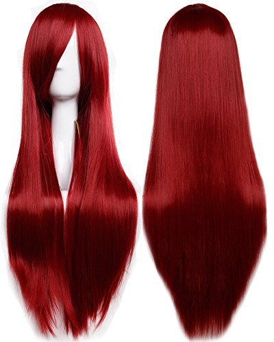 S-noilite 32' (80cm) Fashion Long Straight Wine Red Full Hair Wig Heat Resistant Cosplay Anime Costume Daily Party Dress Women Lady Wigs with Bangs