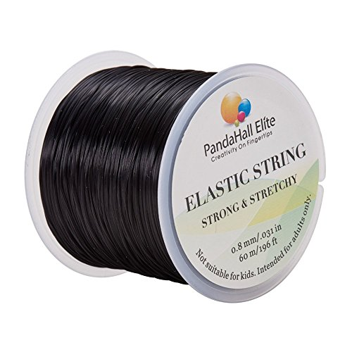 PandaHall Elite 1 Roll 0.8mm Black Elastic Stretch Polyester Threads Crystal Beading String Cord 60m per Roll for Jewelry Making Bracelets Necklace