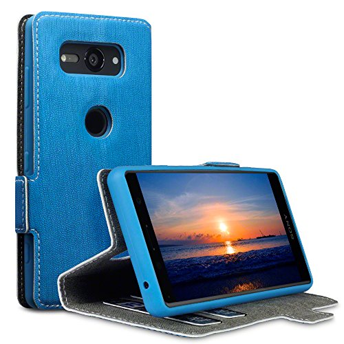 TERRAPIN, Kompatibel mit Sony Xperia XZ2 Compact Hülle, Leder Tasche Case Hülle im Bookstyle mit Standfunktion Kartenfächer - Hellblau