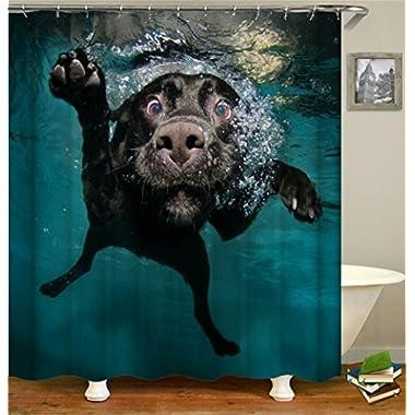 Blue Fabric Art Shower Curtain Black Funny Labrador Dog Swimming in the Water Theme Bathroom Decor with Free Hooks Waterproof Bath Curtain YLB11 (dog)