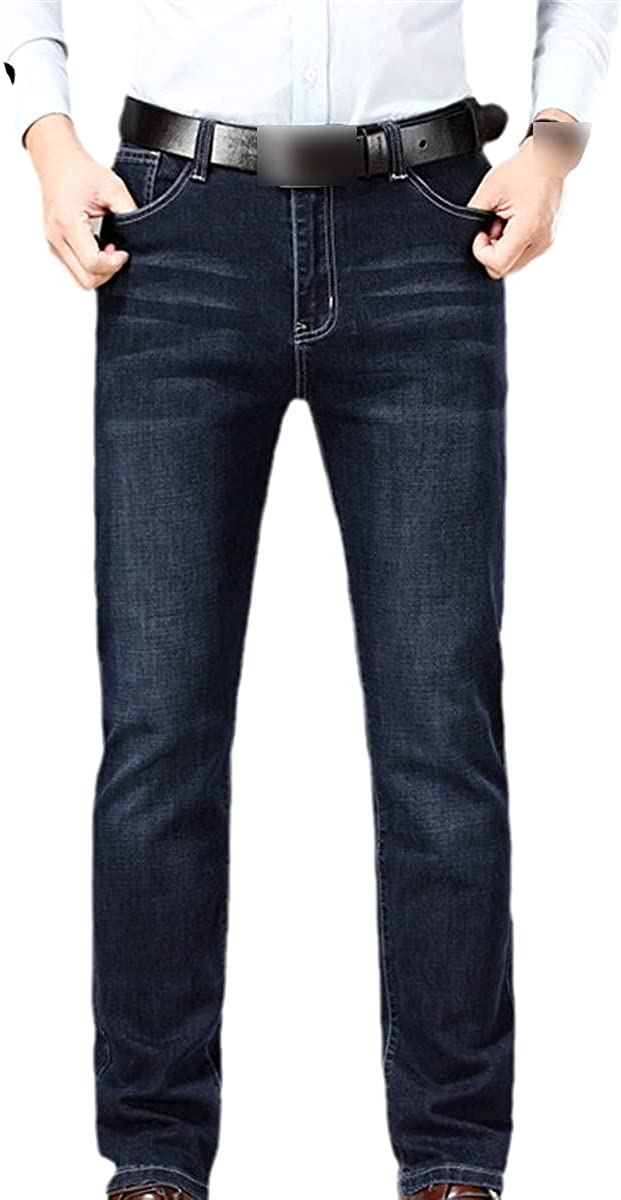 Men's Jeans Pure Cotton Business Casual Fashion Stretch Straight-Leg Tooling Classic Style Pants