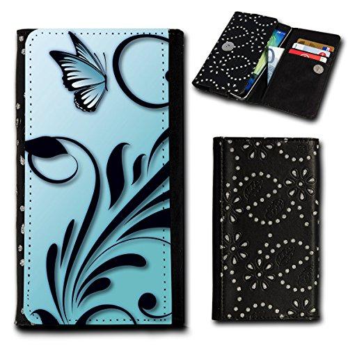 Strass Book Style Flip Handy Tasche Case Schutz Hülle Foto Schale Motiv Etui für Samsung Galaxy S2 Plus i9105 - Flip SU6 Design1