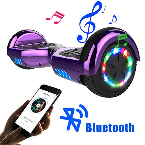 SOUTHERN-WOLF Hoverboard go Kart, Self Balance Scooter with Hoverkart 6.5 Inches Hoverboards for kids LED with Lights and Bluetooth Speaker Best Gifts for Kids (purple)