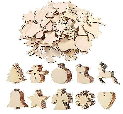QYY 100 Stück Kleine Anhänger Holz Weihnachten Deko,Holz Christbaumschmuck weihnachtsbasteln Weihnachtsbaum Anhänger Weihnachtsdeko zum Aufhängen