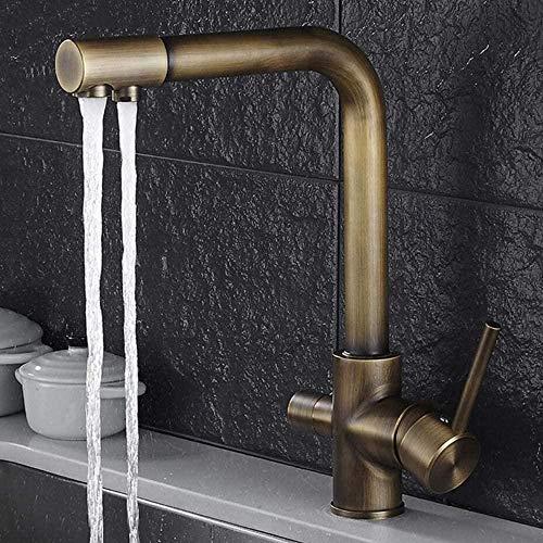 Wasserhähne 3-Wege-Wasserfilter Küchenarmatur 360 ° Drehung Messing Küchenarmatur 2 Hebel Mischpult Waschbecken Wasserhahn Armaturenarmatur für Osmosesysteme Trinkwassersysteme Schwarz-Antik-Messing