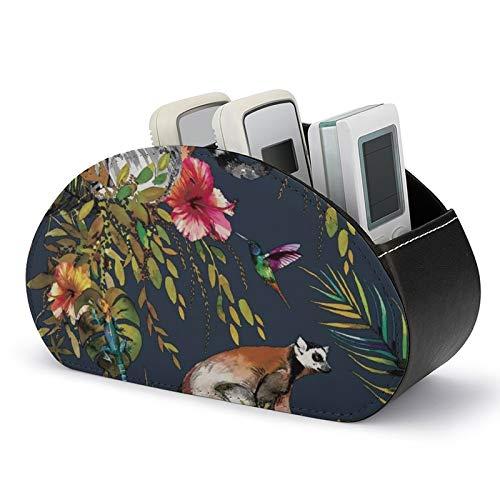 Fernbedienungshalter mit 5 Fächern, tropischer Dschungel, Lemur Catta, Kolibri, PU-Leder, TV-Fernbedienung, Aufbewahrungsbox für TV-Fernbedienung, DVD, Controller
