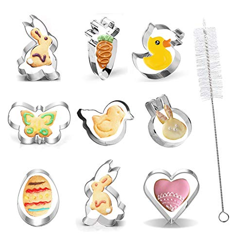 Skycool Easter Cookie Cutters Set, 10pcs Stainless Steel Spring Easter Baking Mold Set for Party (Bunny, Rabbit Face, Egg, Chick, Duck, Heart,Carrot, Butterfly) with Cleaning Brush
