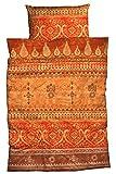 LIVING DREAMS Bettwäsche Indi orange Terra 135x200 cm orientalische Ornamente Bordüren Bettwäsche-Set modernes Landhaus Italienischer Flair so hip