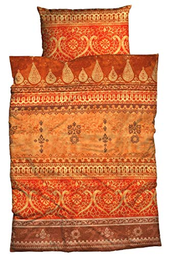 LIVING DREAMS Bettwäsche Indi orange Terra 155x220 cm orientalische Ornamente Bordüren Bettwäsche-Set modernes Landhaus Italienischer Flair so hip