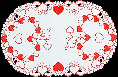 Creative Linens Embroidered Red Hearts Placemats Table Runners Tablecloths for Valentines Day Mothers Day Wedding Anniversary Decoration Placemats 11x17-4 Pieces