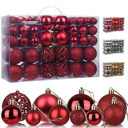 KATELUO 100 Stück Weihnachtskugeln Kunststoff, Christbaumkugeln, Weihnachtsdeko, Rote Weihnachtskugeln, Glitzernd, Matt, Glänzend Weihnachtskugeln Set, Ø 3, 4 & 6cm