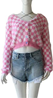LJLLINGA Spring Newly Pink Grid Short Women V-Neck Cardigans Fashion Slim Ladies Knitted Soft Sweater Long Sleeve