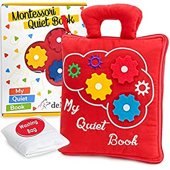 deMoca Quiet Book for Toddlers - Montessori Basic Skills Activity Toys – Preschool Learning Soft Travel Toy & Sensory Educational Busy Book for 3 Year Old Boys & Girls + Zipper Bag Red