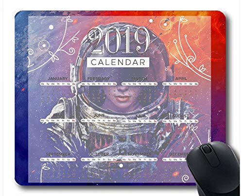 Flying Pig Man 2019 Calendar Pads,Astronaut Planet sci-fi Art Gaming Mouse mat (Multi 68)