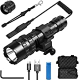 Tactical Flashlight 3000 Lumens L2 LED Hunting Gear Weapon Light with Picatinny Rail Mount and Remote Pressure Switch, 5 Modes Waterproof with Hexagon Screwdriver,Rechargeable Battery for AR15