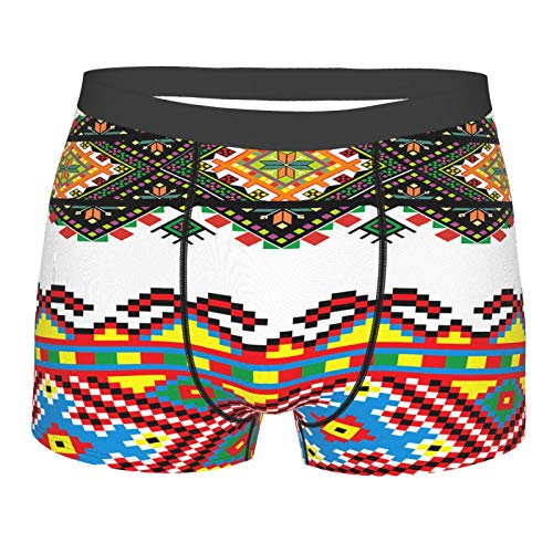 Men's Underwear,Ethnic Retro Ukranian Ornament Print,Boxer Briefs Breathable Comfort Underpants Size Xl