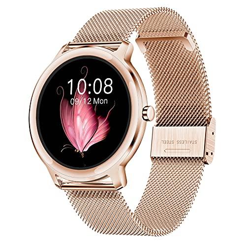 HQPCAHL Smartwatch Mujer Reloj Inteligente IP68 Impermeable, Monitor De Sueño Y Caloría Pulsómetro, Notificaciones Inteligentes, Reloj Deportivo Mujer para Android iOS,Oro