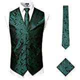 ZEROYAA Men's 3pc Paisley Jacquard Vest Set Necktie Pocket Square Set for Suit or Tuxedo ZLSV14 Green Black Small