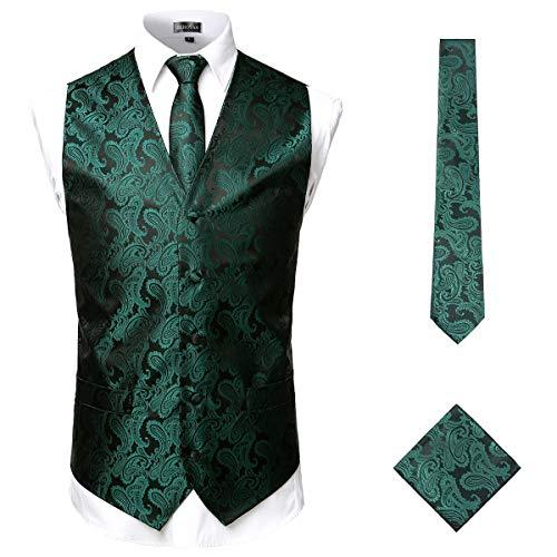 ZEROYAA Men's 3pc Paisley Jacquard Vest Set Necktie Pocket Square Set for Suit or Tuxedo ZLSV14 Green Black X-Large
