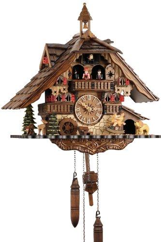 Reloj de cuco, madera real, mecanismo de cuarzo a batería, llamada de cuco musical Eble, casa de la Selva Negra, 41 cm, 20688