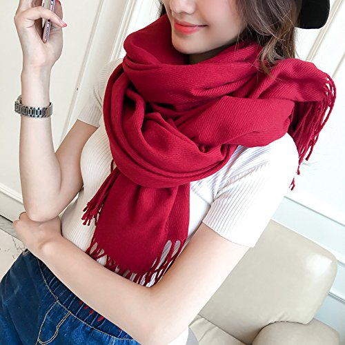 RENYZ.ZKHN Autumn and Winter Winter Scarf Female Long Fringed Shawl Thickened Solid Color Scarf Scarf Scarf Shawl 83 * 228Cm Long Dual Spring,Chili Chilli - Red - Red