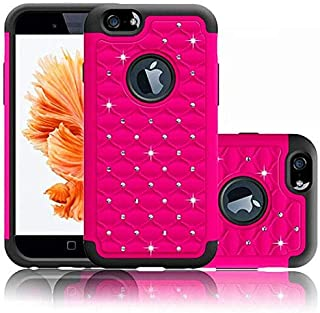 Coolzu(TM) iPhone 6 6S Case Heavy Duty Shock Absorbing Hybrid Stud Rhinestone Bling Dual Layer Protection Cover for Apple iPhone6 iphon6s Cases 4.7 Inch (Hot Pink)
