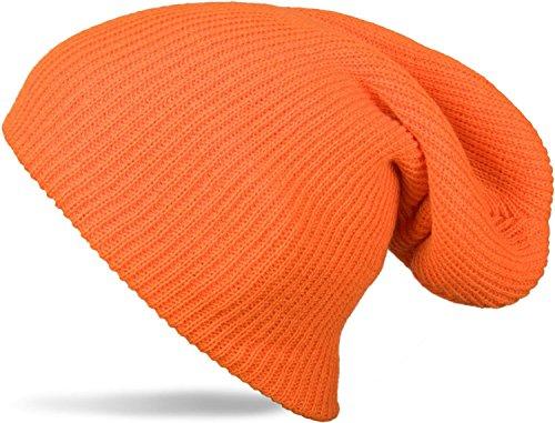 styleBREAKER Beanie Mütze, Slouch, überlange Strickmütze, doppelt gestrickt, warm, Unisex 04024004, Farbe:Orange