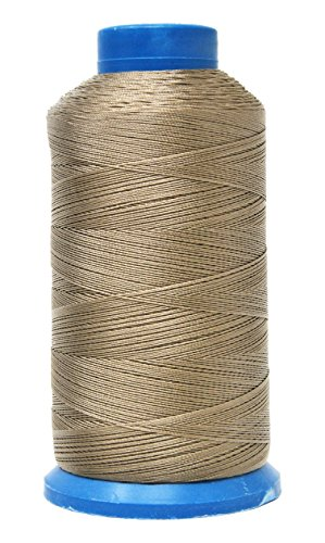 Mandala Crafts Bonded Nylon Thread for Sewing Leather, Upholstery, Jeans and Weaving Hair; Heavy-Duty; 1500 Yards Size 69 T70 (Dark Beige)